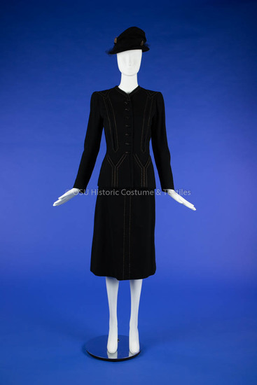 1940s Black Wool Suit