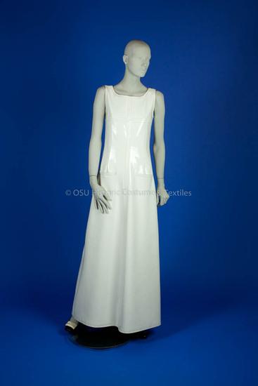 Courrèges, André, white patent leather long sheath dress