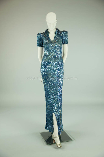 Chanel, Coco; 1930's blue long sequin dress