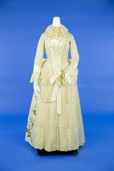 1880s Wool and Silk Wedding Dress