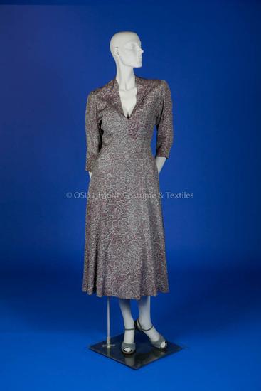 Hawes, Elizabeth, light blue/brown floral dress