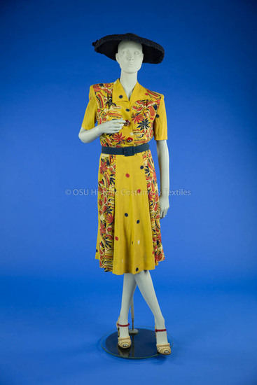 1940s Yellow Print Dress