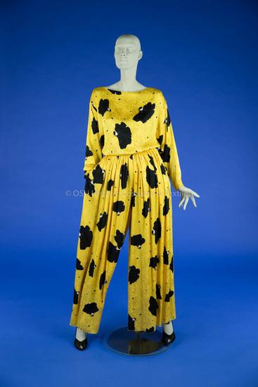 Bill Blass Yellow/Black Silk Ensemble