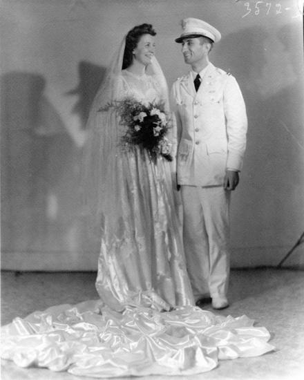 1943 White Satin and Lace Wedding Dress