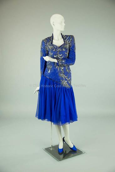 1980s Blue Beaded Chiffon Dress