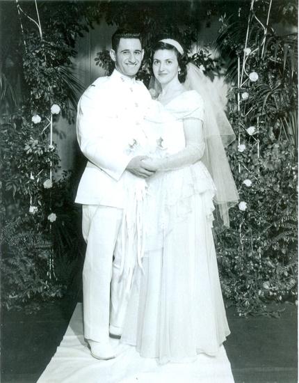 1950s White Lace and Chiffon Wedding Dress