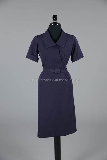 1952 Dior Navy Silk Two-Piece Dress