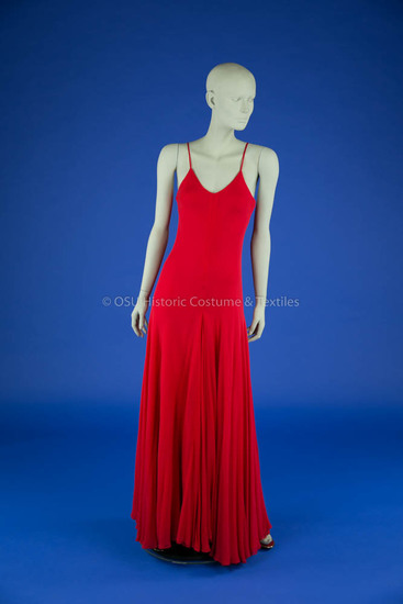 Halston Red Chiffon Dress