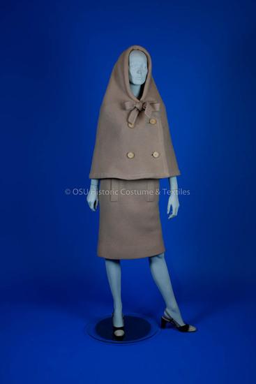 Cardin, Pierre 1960's camel wool dress & cape