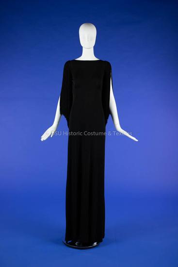 Black Knit Dior Dress with Fringe
