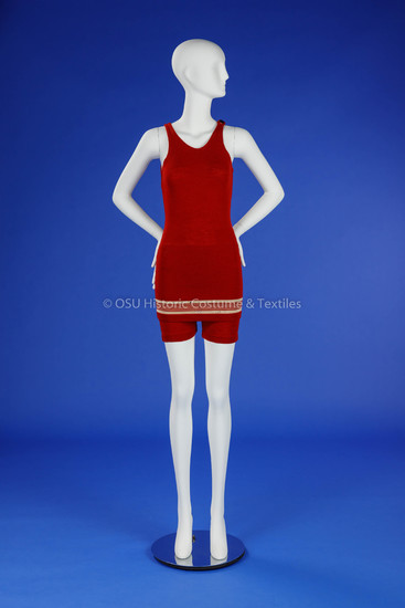 1920s Red Wool Woman's Bathing Suit