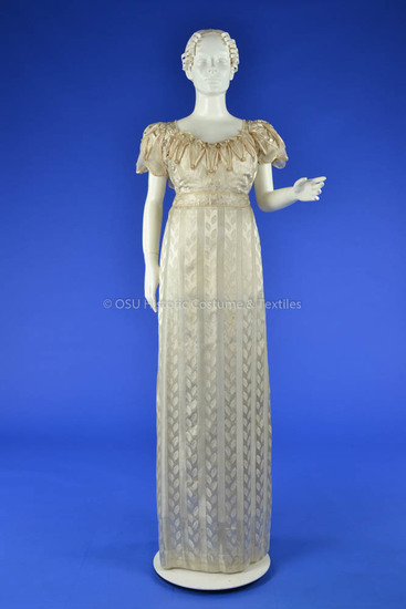 1820-1825 Silk Empire Waist Dress