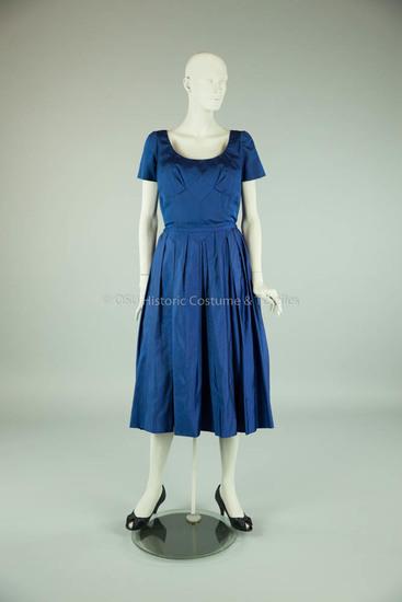 Mainbocher Blue Silk Faille Dress