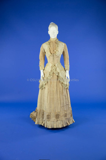 1880 Two-Tone Silk Wedding Dress