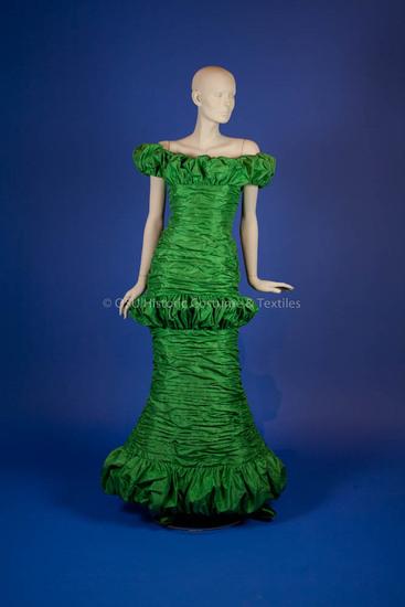 Scaasi, Arnold; green silk gathered taffeta long dress