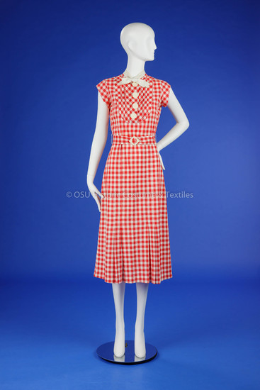 1930s Red & White Day Dress
