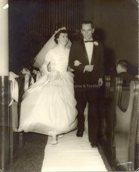 1957 White Silk Wedding Gown