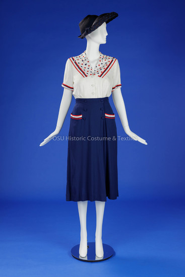 1930s Women's Navy/White/Red Ensemble