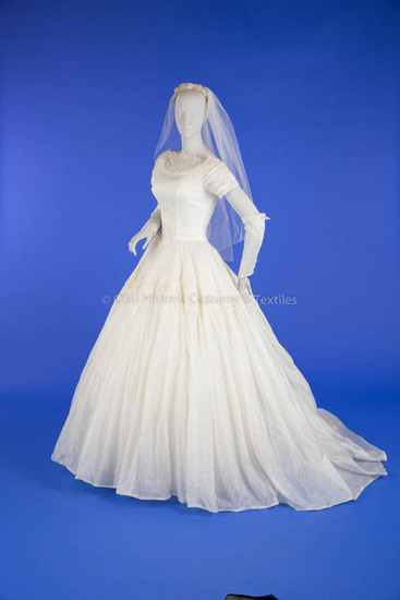 1957 White Silk Wedding Gown