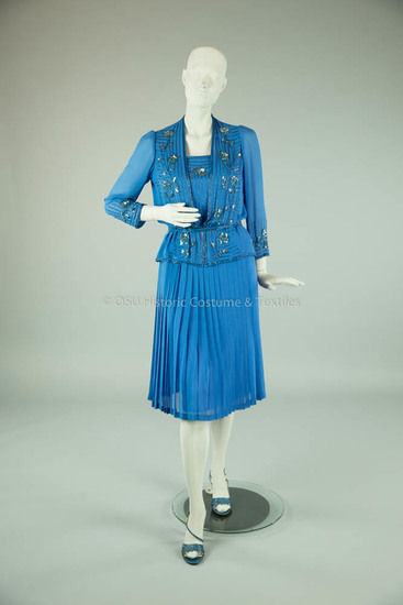 1980s Blue Silk Beaded Dress and Jacket