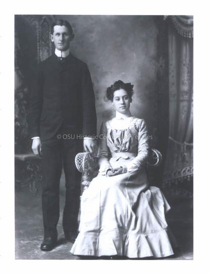 1900s Gray/Pink Wool Wedding Dress