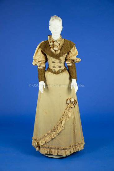 1893 Tan Silk Wedding Dress