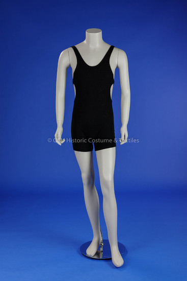 1930s Man's Black Wool Swimsuit