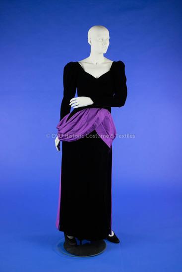 Dior Black Velvet and Purple Satin Dress