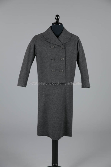 1954 Dior Dark Gray Wool Dress
