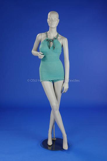 1930s Green Wool Bathing Suit