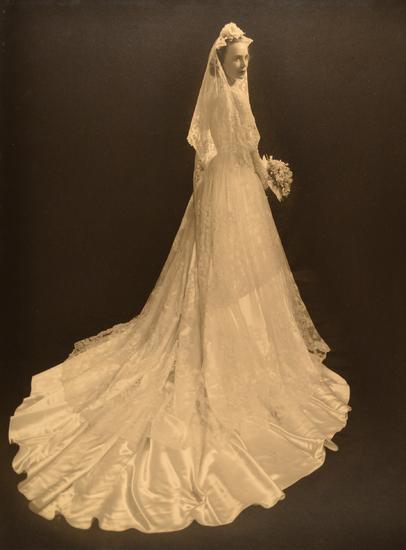1951 Satin and Lace Wedding Dress