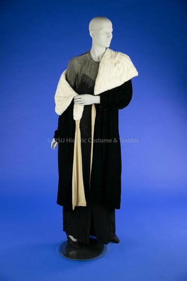 1925-1935 Black Velvet Wrap Coat
