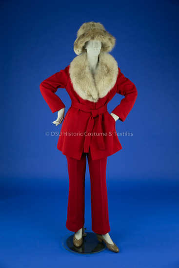 1970's Red Wool Pant Suit