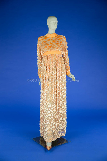 Geoffrey Beene, Orange Burn-Out Velvet Dres