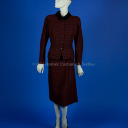 Valentina; red/black striped wool dress and jacket