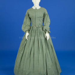 1860s, Green and White Gingham Dress