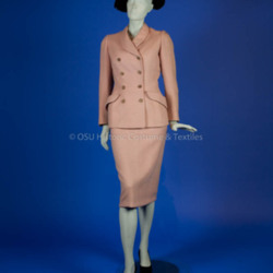 Norell, Norman; pink wool tweed suit
