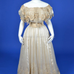 1900's Ivory Silk Chiffon Evening Gown