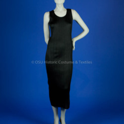 Miyake, Issey; Black polyester heat set pleated dress
