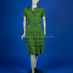 Monteil, Germaine green and black silk floral print ruffle dress