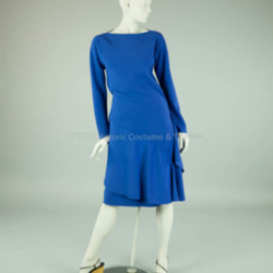 Halston Blue Asymmetric Bias Dress
