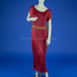 Fortuny Red Silk Delphos Gown