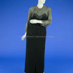 1930's Black Crepe Beaded Evening Gown