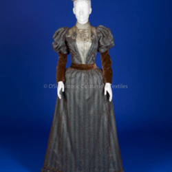 1893 Blue Satin and Brown Velvet Dress