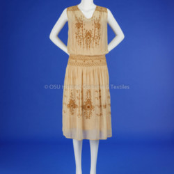 1920s Beige Embroidered Dress