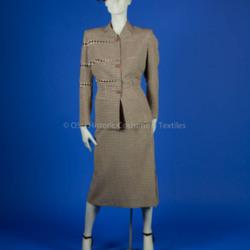 Adrian, Gilbert; brown & white gingham wool suit