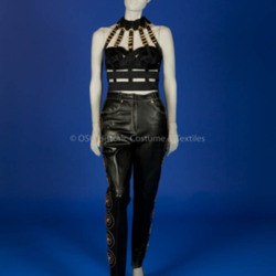 Versace, Gianni; Black bondage top and leather pants
