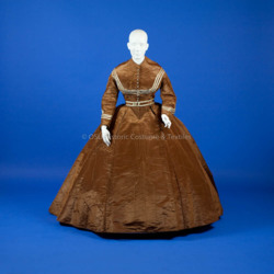 1867-1868 Brown Silk Taffeta Bodice and Skirt