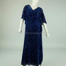 1930s Dark Blue Voided Velvet Dress