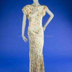 1930's Floral Satin Bias Dress